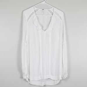 Free People White Ruffled V Neck Tunic Blouse